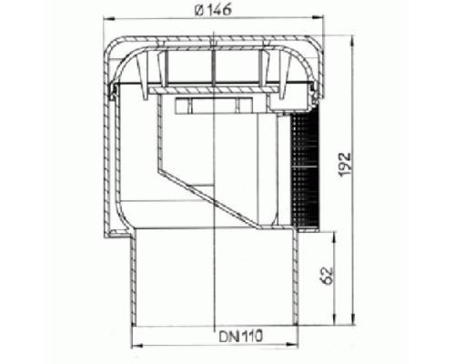 Клапан воздушный канализационный Д50х75х110 для невентилируемых канализационных стояков HL 900N