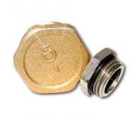 Заглушка латунь Ду 15 с уплотнительным кольцом НР Цветлит