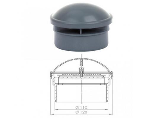 Клапан серый вакуумный Дн 110 Ostendorf 881790