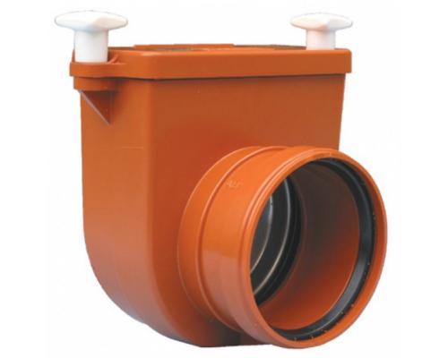 Затвор канализационный Ду 110 с заслонкой из нерж стали, монтажным лючком HL 710