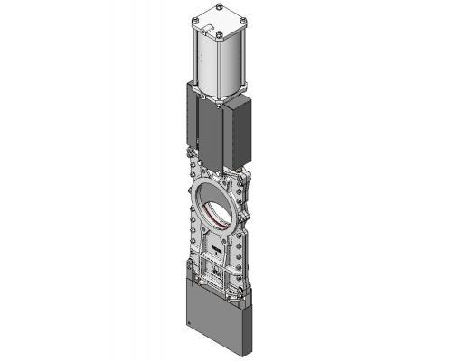 Задвижка шиберная СМО L-02-D/A-E нерж. сталь межфланцевая с пневмоприводом двойного действия Ду 100L(SP)-021-02-0100 Ру 10-SsP-D/A-E