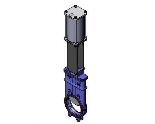 Задвижка шиберная СМО K-01-D/A-E чугунная межфланцевая с пневмоприводом двойного действия Ду 100K(SP)-011-01-0100 Ру 10-SsP-D/A-E