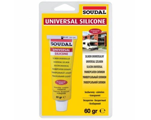 Герметик силикон универсальный 60мл бесцветный Soudal 120032