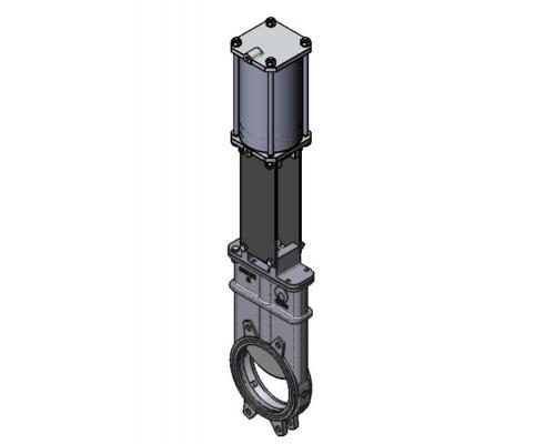 Задвижка шиберная СМО K-02-D/A-E нерж. сталь межфланцевая с пневмоприводом двойного действия Ду 100K(SP)-021-02-0100 Ру 10-SsP-D/A-E