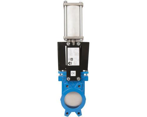 Задвижка шиберная СМО A-03-D/A-E стальная межфланцевая с пневмоприводом Ду 1000A-031-01-1000 Ру 2-SsP-D/A-E
