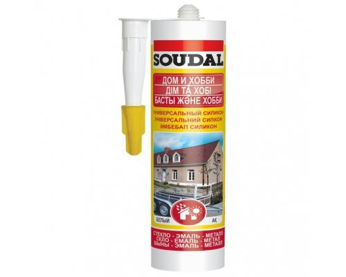 Герметик силикон универсальный ДОМ И ХОББИ 300мл белый Soudal 105907