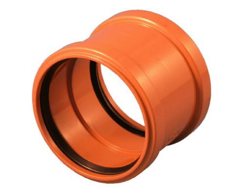 Муфта НПВХ двухраструбная коричневая Дн 110 б/нап в/к