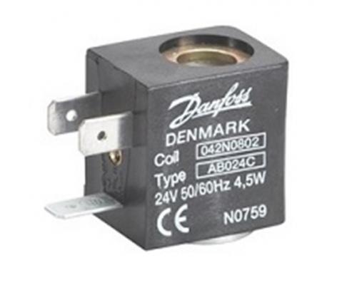 Катушка электромагнитная AB024C, напряжение питания 24 В, 50/60 Гц, мощность 4,5 Вт, пер. тока, присоединение гайкой Danfoss (042N0802)
