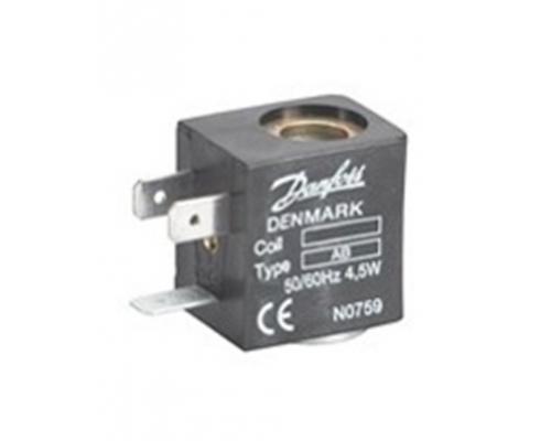 Катушка электромагнитная AB012D, напряжение питания 12 В, мощность 5 Вт, пост. тока, присоединение гайкой Danfoss (042N0806)