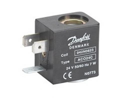 Катушка электромагнитная AC024C, напряжение питания 24 В, 50/60 Гц, мощность 7 Вт, пер. тока, присоединение гайкой Danfoss (042N0823)