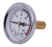 "Термометр биметаллический осевой Дк100 L=100мм G1/2"" 160C ТБ100 Метер"