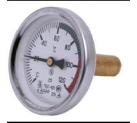 "Термометр биметаллический осевой Дк63 L=80мм G1/2"" 160C ТБ63 Метер"