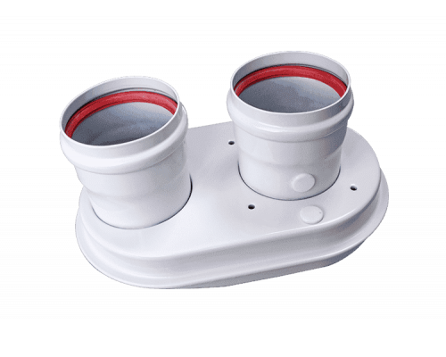 Адаптер дымохода двухканальный Æ80-80, алюминий крашеный Для котлов Рысь, Ягуар., котлы газовые Protherm Рысь и Ягуар