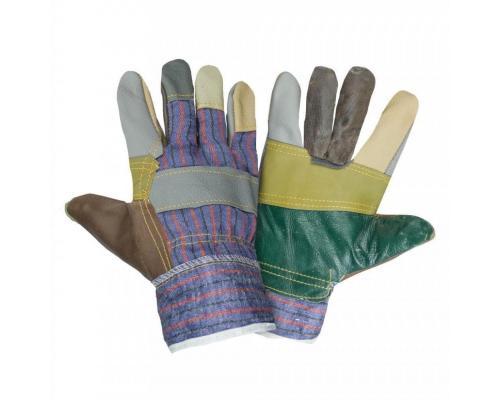 Перчатки кожаные комбинированные Радуга