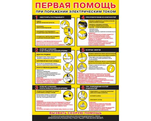 """Плакат """"Первая помощь при поражении электрическим током"""""""